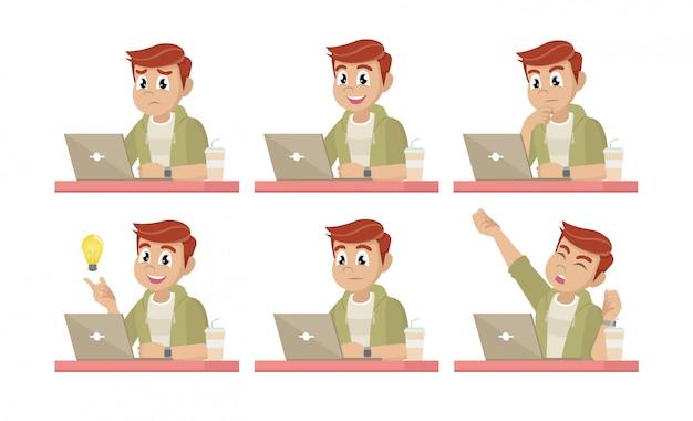 Hombre de negocios en el escritorio con una computadora portátil