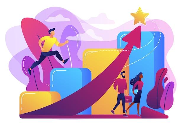 Hombre de negocios exitoso corriendo por las escaleras de carrera y flecha ascendente a una estrella. crecimiento profesional, desarrollo profesional, concepto de desarrollo profesional.