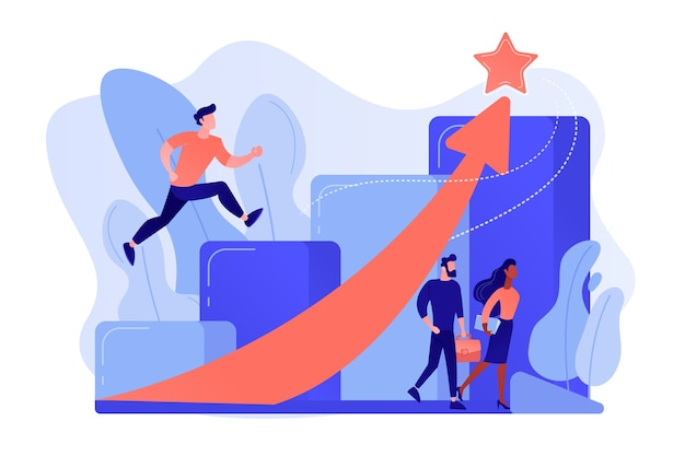 Hombre de negocios exitoso corriendo por las escaleras de carrera y flecha ascendente a una estrella