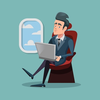 Hombre de negocios exitoso de dibujos animados volando en avión y trabajando con ordenador portátil.