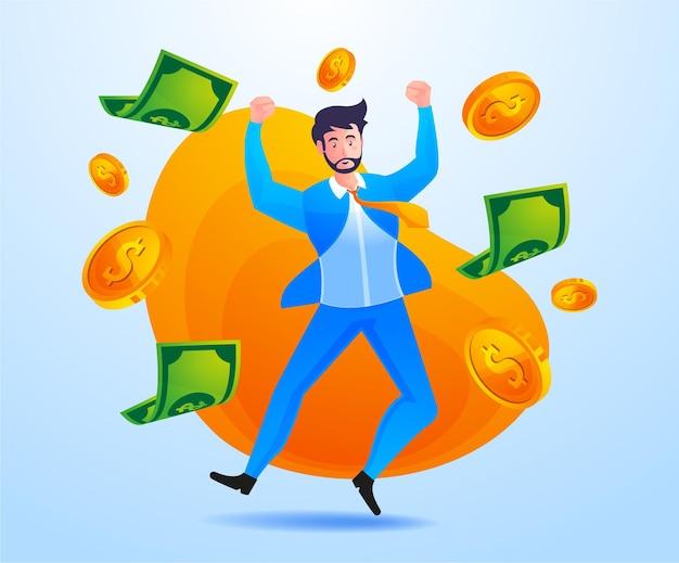 Hombre de negocios exitoso gana mucho dinero