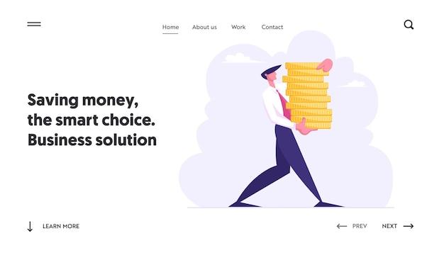Hombre de negocios exitoso llevar pila de monedas de oro concepto conjunto de página de destino