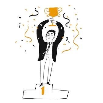 Hombre de negocios exitoso está sosteniendo un trofeo