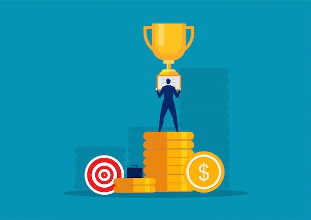 Hombre de negocios exitoso super rico feliz en vector de concepto de moneda grande