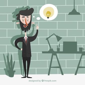 Hombre de negocios exitoso teniendo una idea