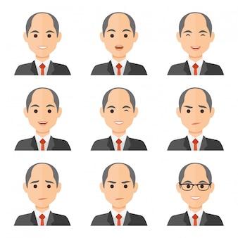 Hombre de negocios expresiones avatar