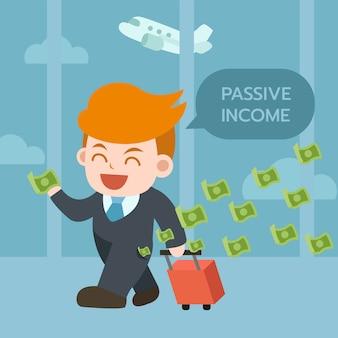 El hombre de negocios feliz con el bolso del viaje, atrae mucho dinero. concepto de renta pasiva.