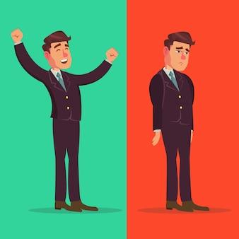 Hombre de negocios feliz e infeliz