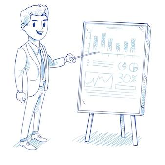 Hombre de negocios feliz explica la tabla de ventas de productos