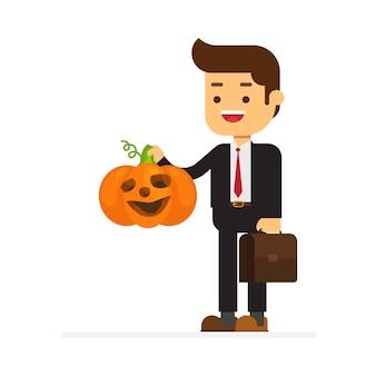 Hombre de negocios feliz halloween