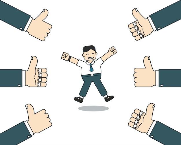 El hombre de negocios feliz de la historieta con muchos pulgares sube las manos