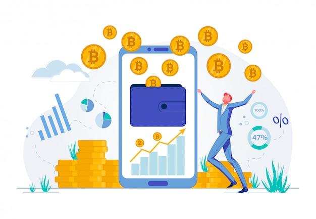 Hombre de negocios feliz con la inversión de financiación de bitcoin.