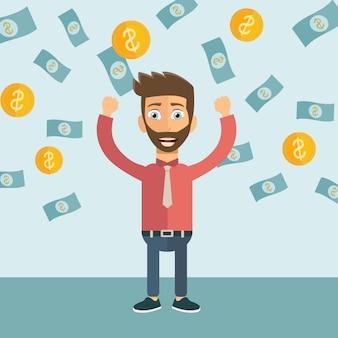 Hombre de negocios feliz con mucho dinero.