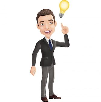Hombre de negocios feliz pensando y teniendo idea