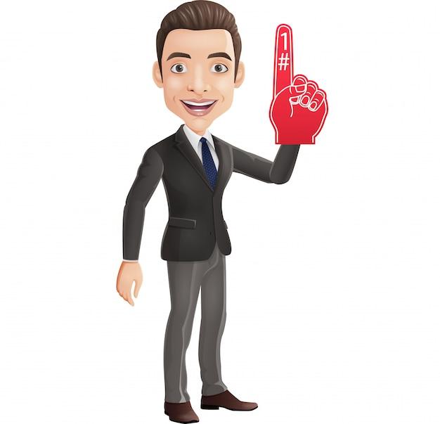 Hombre de negocios feliz que muestra el número uno con el dedo de la espuma