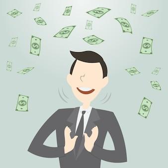 Hombre de negocios feliz recibiendo mucho dinero