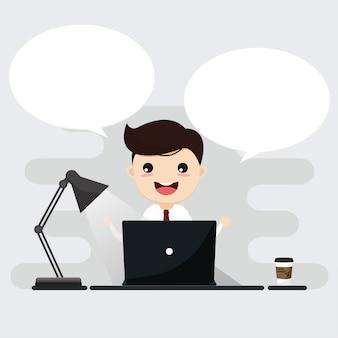 Hombre de negocios feliz trabajando en la computadora portátil. bocadillo en blanco