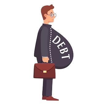 Hombre de negocios flaco con la carga gorda de la deuda panza
