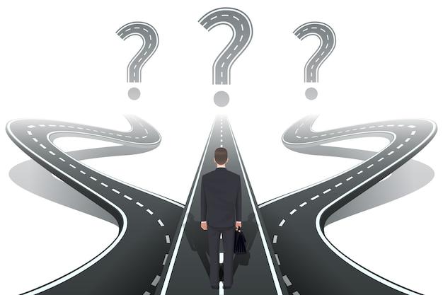 Hombre de negocios frente a la pregunta con carreteras.
