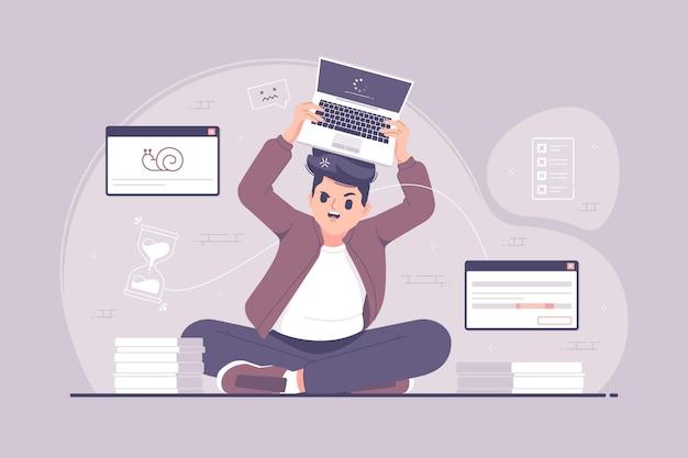 Hombre de negocios frustrado enojado que lanza la ilustración del ordenador portátil