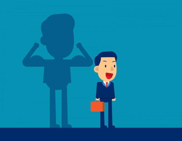 Hombre de negocios con una fuerza de sombra de carrera