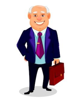 Hombre de negocios gordo alegre