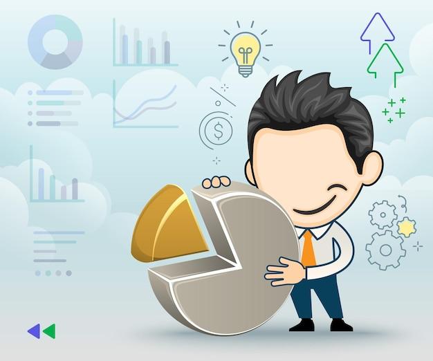 Hombre de negocios con un gráfico circular concepto de negocio y finanzas en estilo de dibujos animados