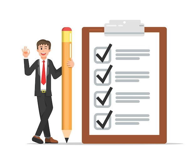 Hombre de negocios con una gran lista de verificación