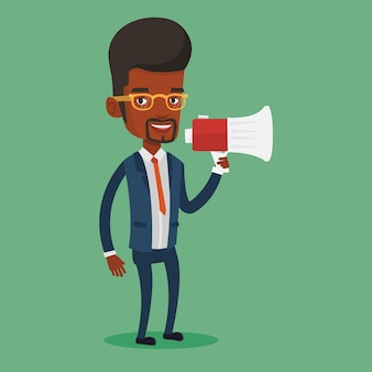 Hombre de negocios hablando por megáfono.