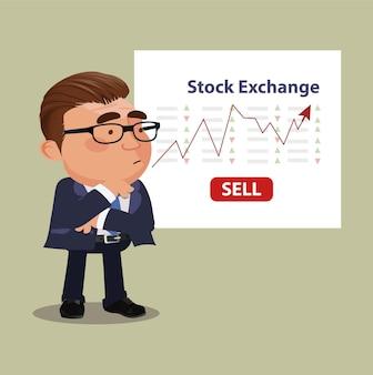 Hombre de negocios hablando de mercado de valores