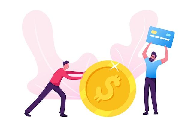 Hombre de negocios haciendo y ahorrando dinero. ilustración plana de dibujos animados