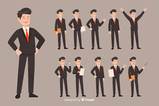 Hombre de negocios haciendo diferentes acciones
