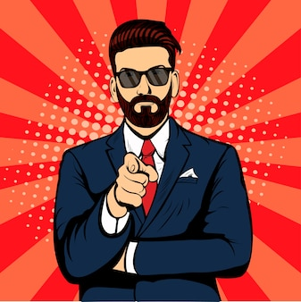 Hombre de negocios hipster barbudo