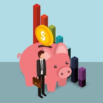 Hombre de negocios hucha moneda y diagrama dinero isométrica