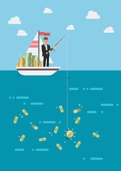 Hombre de negocios con idea dinero de pesca