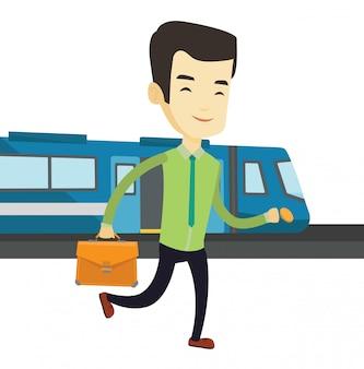 Hombre de negocios en la ilustración de la estación de tren