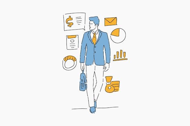 Hombre de negocios, con, infografía, dibujado a mano, ilustración