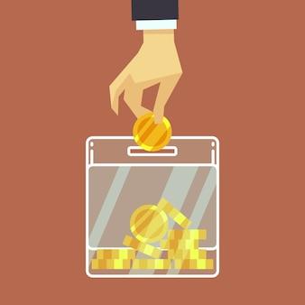Hombre de negocios insertar moneda en la caja de donar. concepto de donación.