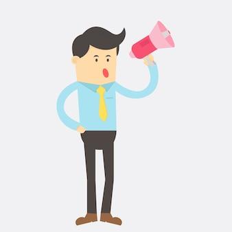 Hombre de negocios inteligente habla con mega diseño de vector de personaje de dibujos animados de teléfono