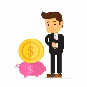 Hombre de negocios intenta poner una moneda grande en una alcancía