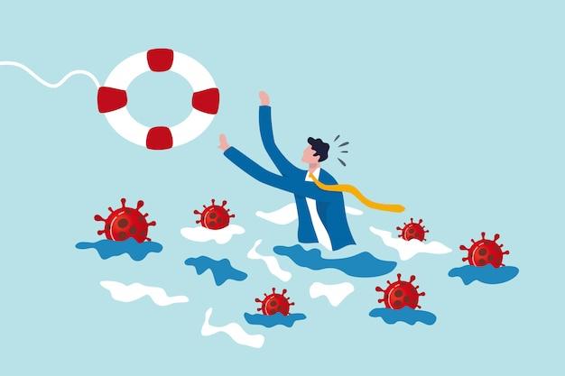 El hombre de negocios intenta sostener la boya de vida con el virus alrededor. ayuda de crisis de coronavirus, brote de covid-19,