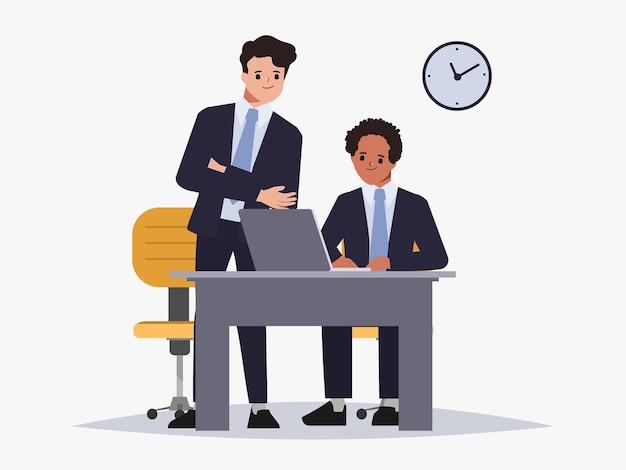 Hombre de negocios de intercambio de ideas, trabajo en equipo, carácter, espacio de trabajo compartido, interior de la oficina
