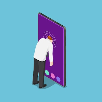Hombre de negocios isométrico 3d plano empuja su cabeza en el teléfono inteligente. concepto de adicción a los teléfonos inteligentes.
