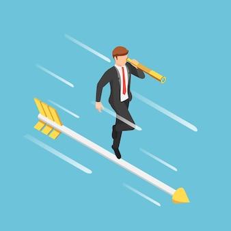 Hombre de negocios isométrico 3d plano con pie de telescopio en la flecha. concepto de visión empresarial.