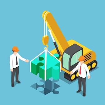 Hombre de negocios isométrico 3d plano que monta la última pieza del rompecabezas. concepto de solución empresarial.