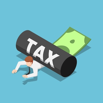 Hombre de negocios isométrico 3d plano que se rueda con impuestos. concepto de impuesto empresarial.