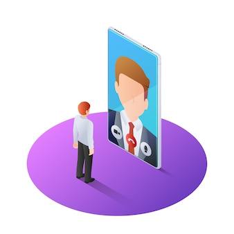 Hombre de negocios isométrico 3d que tiene videollamada con el jefe en smartphone