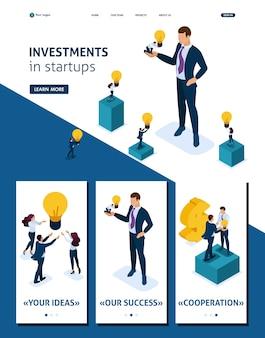 El hombre de negocios isométrico de la página de aterrizaje de la plantilla del sitio web ofrece una oportunidad de inversión, invirtiendo en una startup, crecimiento empresarial. 3d adaptativo