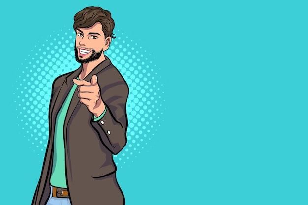 Hombre de negocios jefe barbudo señalando estilo de cómics de arte pop.