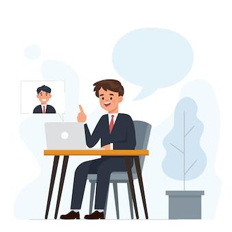 Hombre de negocios joven está haciendo una video llamada con socios de negocios